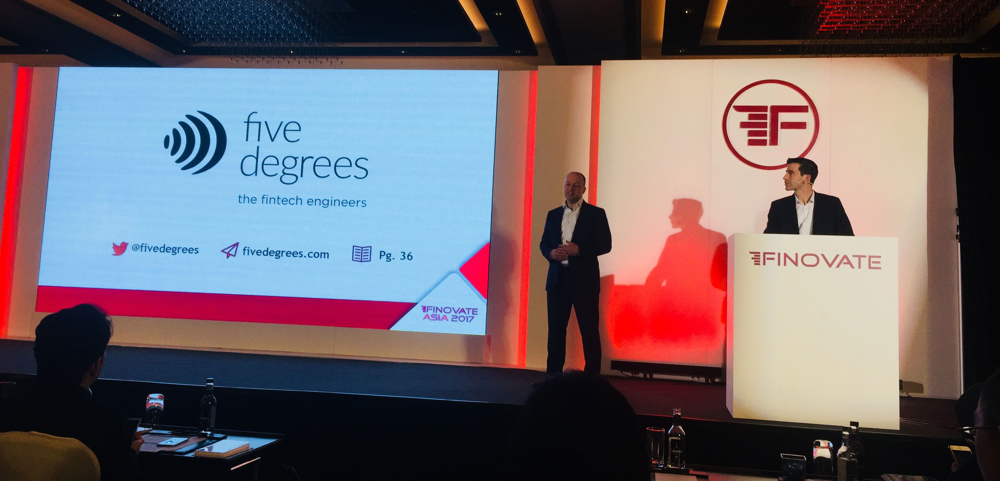 Five Degrees' CCO, Peter Jan van de Venn and Solution Consultant Max de Winter demo  innovative lending solution at FinovateAsia